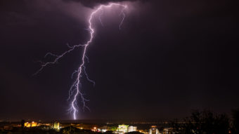 Lightning in the sky over a town