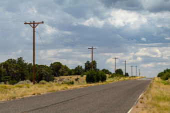 Power poles along a road
