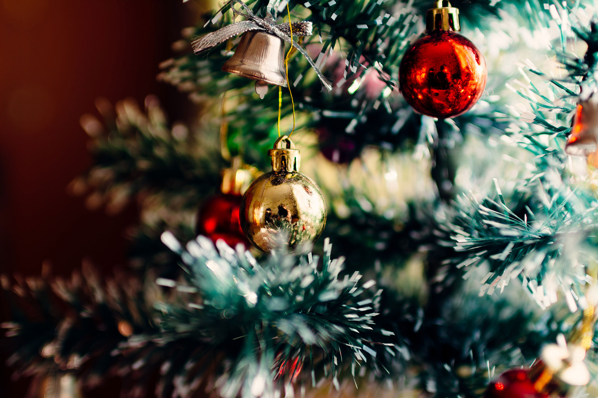 Close up of ornaments on Christmas tree